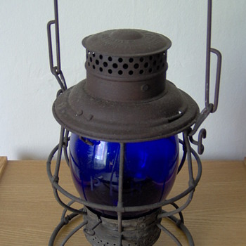PRR railroad lamp with cobalt globe - Railroadiana
