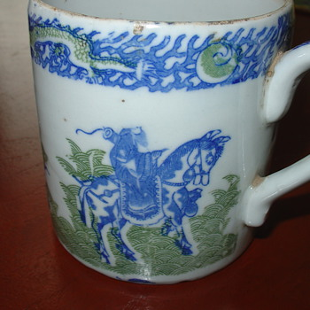 Antique Chinese Mug in Blue and Green - Asian