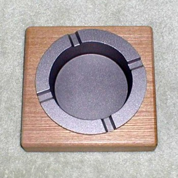"2002 - ""Marlboro"" Wood Block Pewter Ashtray"