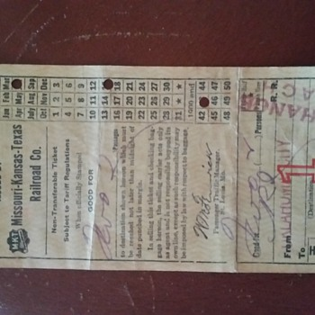 Curious of the value, non-transferable ticket issued by MKT railroad co