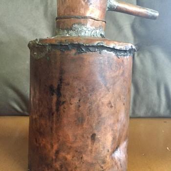 Primitive handmade copper lamp oil can?