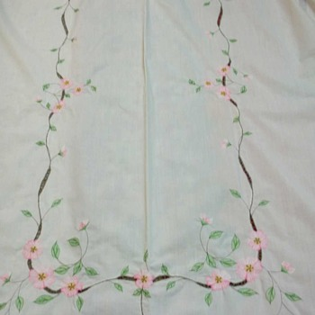 "51"" x 80"" VINTAGE IVORY TABLECLOTH WITH PINK APPLE BLOSSOM EMBROIDERY"