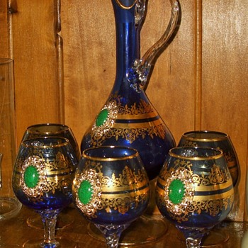 bohemian? French? Italian Glass Blue Cobalt with Gold adornments Pitcher goblets