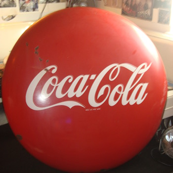 1940s 48in. porcelian Coca-Cola Button sign