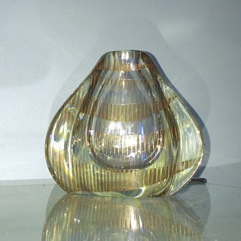 Help Vintage Studio Italian? Gold Enamelled Blown Vase  - Art Glass