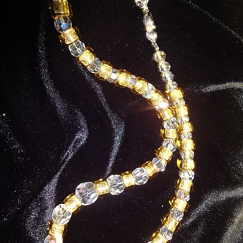 Vintage foil glass and crystal glass bead necklace with little silver clasp. - Costume Jewelry