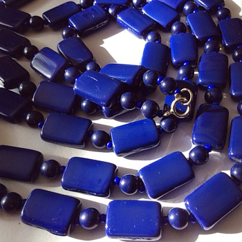 Long Blue stone necklace  - Costume Jewelry