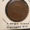 1855 Large Cent with upright Fives