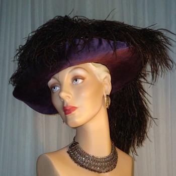 Spectacular Victorian Velvet Tricorn Hat - Hats