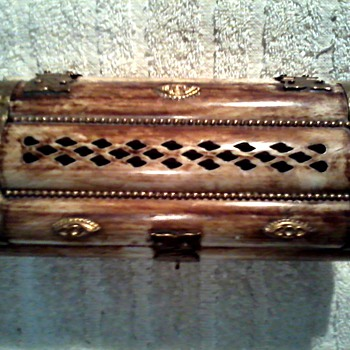Camel Bone and Brass Jewelry Box/Made in India/ Circa 20th Century