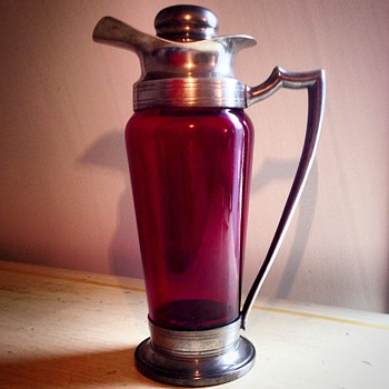 Ruby glass cocktail shaker