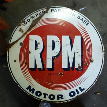 My original double sided RPM Motor Oil sign - Signs