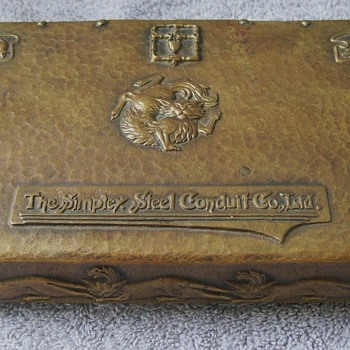 Amazing Arts & Crafts Art Nouveau Hand Hammered Brass Box/Humidor Featuring Cats & Mice!