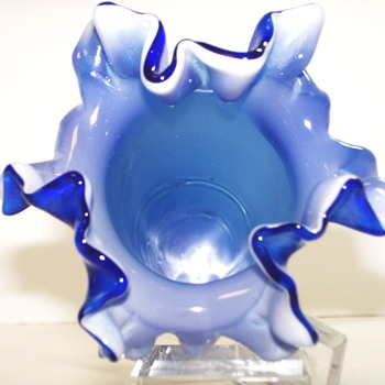"Ruffled blue vase with clear serpentine""????"""