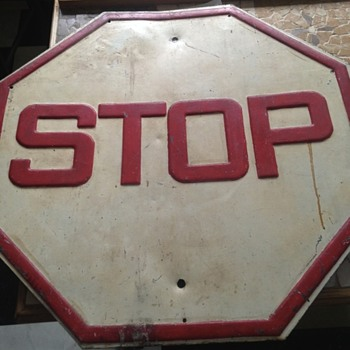 White Stop Sign with Red Lettering