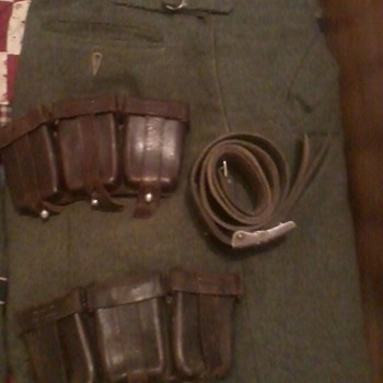 ww2 1943(M-43) trousers. Waffen SS issued Belt and Buckle.Issued SS Kar98 Pouches - Military and Wartime