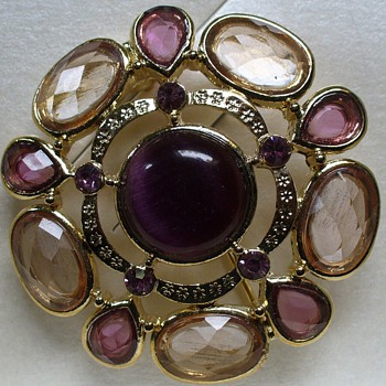 Trefari Amethyst Glass Brooch - Costume Jewelry