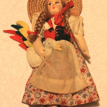 Vintage Cloth & Felt International Doll Woman holding Rooster