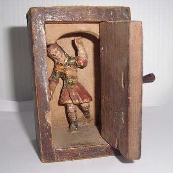 Vintage Wooden Box with a Figure Inside - Folk Art