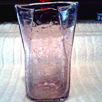 Blenko Handcraft Amethyst Crackle Paper Bag Vase /Original Clear Label / Circa 2003