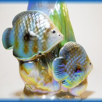 Lusterware Small Vase with 2 Fish