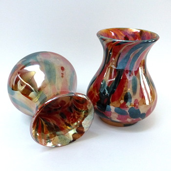 Pair of iridescent spattered vases