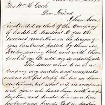 Letter from clerk about death 1873 ourrelative - Military and Wartime