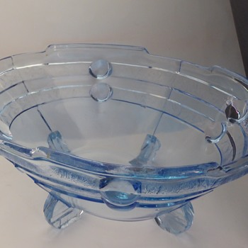 Art Deco Hermanova Hut Pressed Blue Glass Bowl