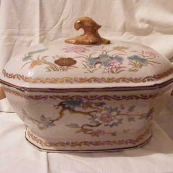 ornate octangular soup tureen with floral accents