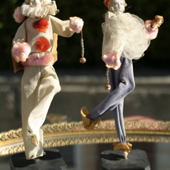 unusual wire limb dolls with bisque faces......European??