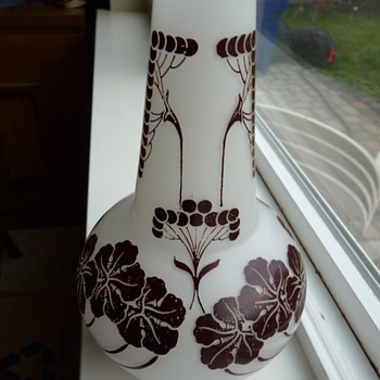 Czech Acid cut back Cameo vase - Art Glass