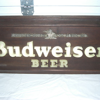 old lighted Budweiser sign - Breweriana