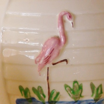 Porcelair Flamingo Coffee/Tea Pot  Sugar/ Creamer 1940s