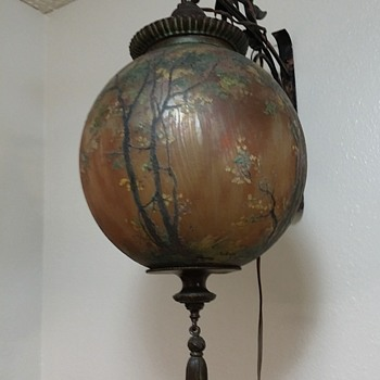 hand painted signed hanging lamp