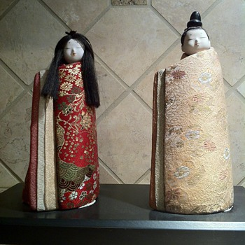 Antique Japanese Hina Dolls Emperor and Empress using Kimekomi