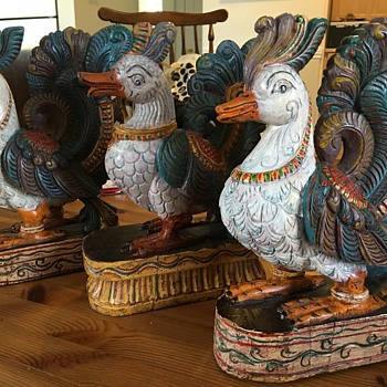 Wood peacock carvings. - Asian