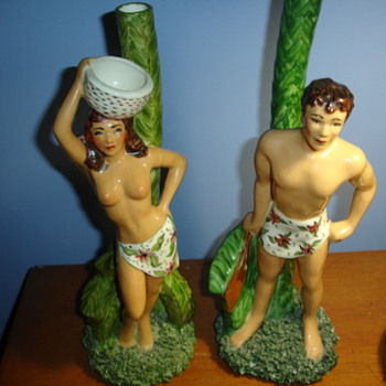 Tarzan and Jane? Uknown figurines ..Please help... not antiques?
