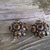 "Vintage 800 Silver & Citrine ""Zeeland Button"" Style Clip Earrings Garage Sale Find 1 Euro (1.16)"