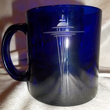 Cobalt blue Worlds Fair 1962 Space Needle Mug Kokesh cut glass