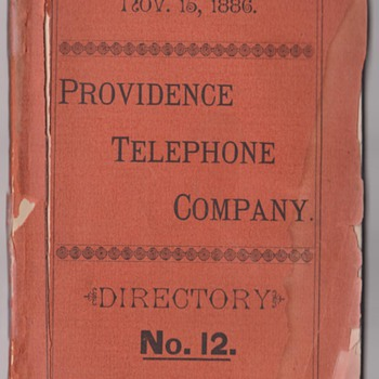 1886 Providence, RI Telephone Directory - Telephones