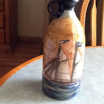 Courvoisier Cognac Bottle Painted  w Sailing Vessell