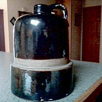 A Big Brown Stoneware Jug / Interesting Shape / Unknown Maker and Age