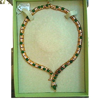 """Henkel and Grosse"" 8"" Chrysoprase Cabochon Serpent Necklace-Choker / Marked Germany ""Grosse"" 67'"