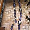 Unusual iridescent blue/gold plastic beads