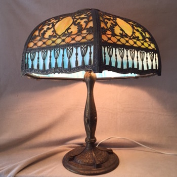 Antique Slag Glass Leaded Lamp
