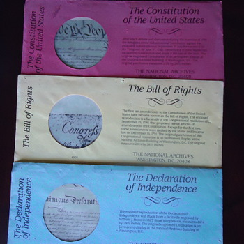 THREE COPYS OF THE CONSTITUTION THE DECLARTION OF INDEPENDENCE AND THE BILL OF RIGHTS
