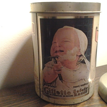 Gillette tin.. with baby shaving - Advertising