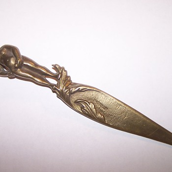 Mannegan Pis Letter Opener - all brass - very heavy - Office