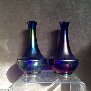 Kralik Cobalt Glatt in Purple & Cobalt Pair Iridescence Vases