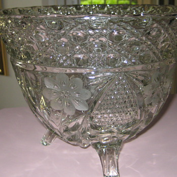 Large etched glass punch bowl